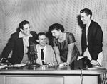 Photo of Left to right, Benny Martin, Berk Bryant, Del Wood and Justin Tubb, Feb. 17, 1956