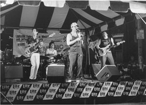 Photo of Lamont Gillispie & the Homewreckers at the 1989 Garvin Gate Blues Festival. L to r, Jimmy Brown, Paul Tkac, Gillispie and Ricky Mason