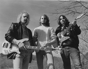 Photo of The Rocky Amaretto Band, 1988. L to r, Rocky Adcock, Chris Cahall and Andy Brauner