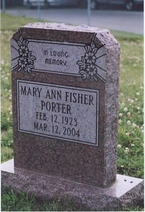 Photo of Mary Ann Fisher's TombStone