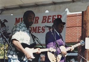 Photo of Micahel & Foree Wells at the 1996 Garvin Gate Blues Festival