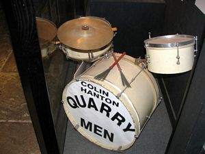 Photo of The drums used by the Quarry Men on the day John Lennon and Paul McCartney met in 1957.