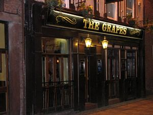 Photo of The Grapes, where the Beatles used to drink after shows at the Cavern. It's just down Mathew Street and across the cobbled road, about a block and a half away