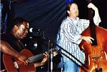 Photo of Tyrone Cotton, right, and Danny Kiely at Blues to the Point Festival, Sept. 9, 2006